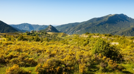 View of mountains landscape with village. Buerba, Catalonia Banco de Imagens