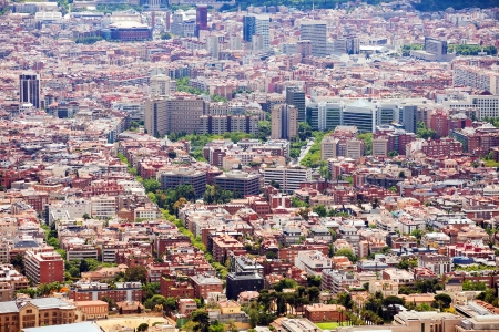 General view of  residence districts in Barcelona,  Spain