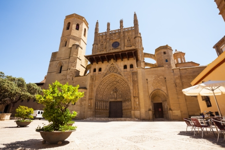 transfiguration:  Huesca Cathedral in sunny day. Aragon, Spain Stock Photo