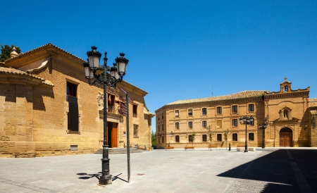 olden day:  Plaza de la Universidad in Huesca. Aragon, Spain Editorial