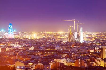 night view of Barcelona from high point. Catalonia, Spain photo