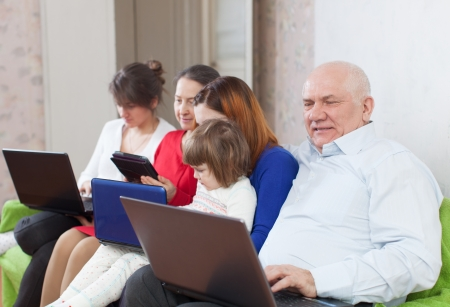 multigenerations family on sofa in livingroom  room with electronic devices at home photo