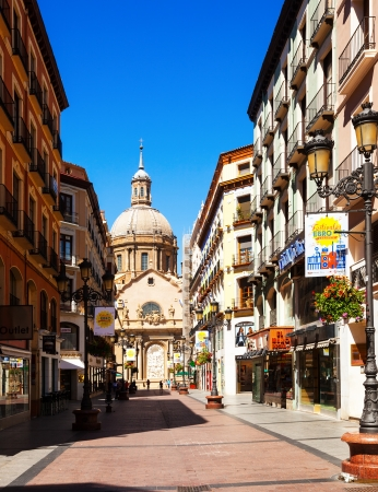 aragon: ZARAGOZA, SPAIN - JULY 4:  Shopping street and Cathedral in July 4, 2013 in Zaragoza, Spain.  Сity was founded by Romans in 24 BC. Now it is fifth largest city in Spain  Editorial