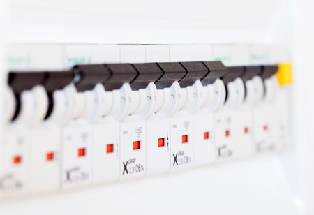 fusebox:  electrical  control panel  at new house