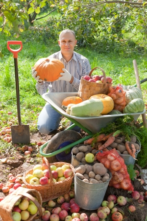 Happy man with vegetables harvest in garden photo