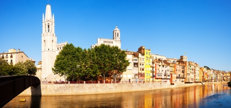 Panorama of Picturesque houses on the river bank in Girona. Catalonia, Spain