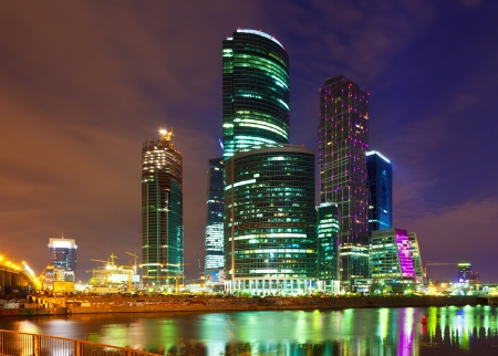 MOSCOW, RUSSIA - JULE 4: Construction of Moscow International Business Center in Jule 4, 2012 in Moscow, Russia. First conceived project in 1992. Project occupies area of 60 hectares. IBC in night