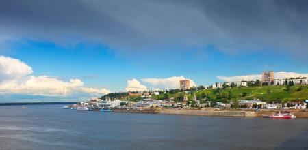 oka: View of old Nizhny Novgorod and junction of Oka river with Volga River. Russia