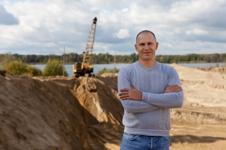 spalpeen: Portrait of worker  at sand pit