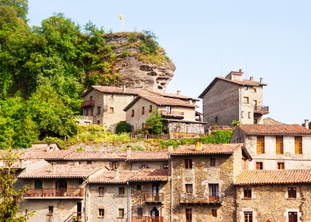 olden day: old picturesque houses of medieval Catalan village in Pyrenees. Rupit, Catalonia Stock Photo
