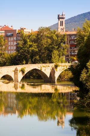 navarre: Old bridge over Arga river in summer day. Pamplona, Navarre