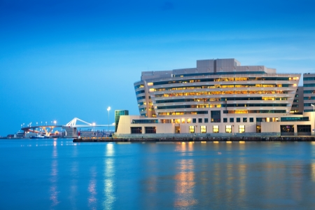 Maing building of Port Vell in evening. Barcelona, Catalonia