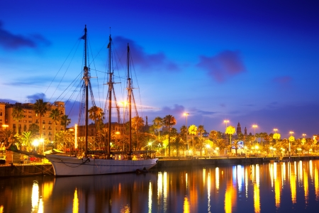 vacaton:  Columbus Quay from Port Vell in evening. Barcelona, Spain