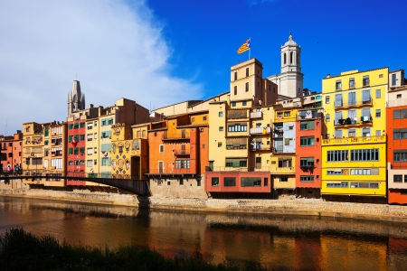 Picturesque houses on the river bank. Girona. Catalonia photo