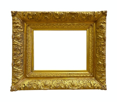 Luxury gold picture frame. Isolated over white background  photo