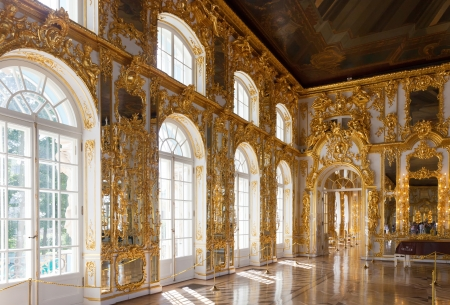 by catherine: ST.PETERSBURG, RUSSIA - AUGUST 2: Interior of Catherine Palace in August 2, 2012 in St.Petersburg, Russia. The former imperial palace.  Building is laid in 1717 on orders of Catherine I. Now a museum