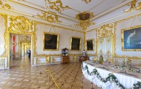 imrepator: ST.PETERSBURG, RUSSIA - AUGUST 2: Interior of Catherine Palace in August 2, 2012 in St.Petersburg, Russia. The former imperial palace.  Building is laid in 1717 on orders of Catherine I. Now a museum  Editorial