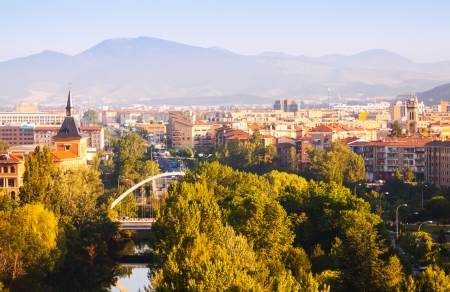 navarra: View of Pamplona with bridge over Arga. Navarre Stock Photo