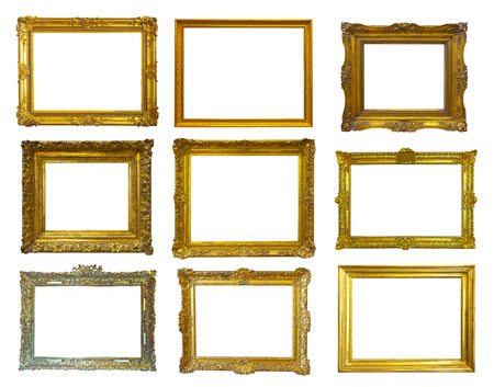 Set of few gold picture frames. Isolated over white background  photo