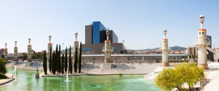 View of Barcelona, Spain. Panorama of Parc de l'Espanya Industrial in summer day Stock Photo - 22330229