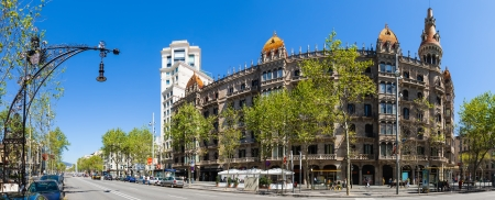 neogothic: BARCELONA, SPAIN - APRIL 14: Panorama of Cases Pons at Passeig de Gracia in April 14, 2013 in Barcelona, Spain. Was built in 1890�1891 by Catalan architect Enric Sagnier, neo-Gothic style, with decoration by Alexandre de Riquer