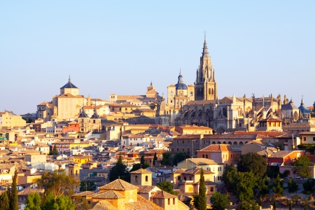 toledo town: View of old town and Cathedral. Toledo, Spain
