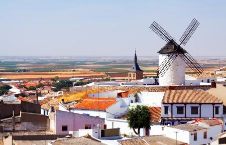 General view of Campo de Criptana with mill and church. Castilla-La Mancha, Spain Stock Photo - 22331673