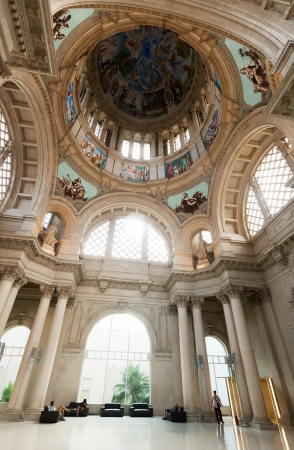 art museum: BARCELONA, SPAIN - AUGUST 8: Interior of National Art Museum of Catalonia in August 8, 2013 in Barcelona, Spain.  Dome of Main hall