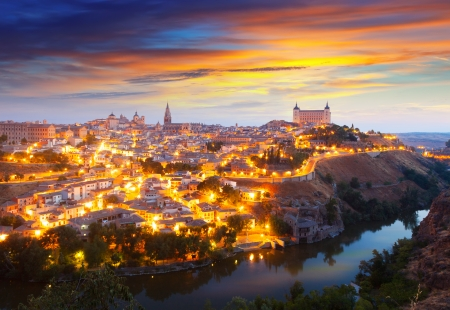 toledo: Picturesque view of Toledo in morning.  Spain Stock Photo