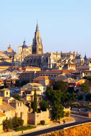 primate: Primate Cathedral of Saint Mary in summer morning. Toledo, Spain Stock Photo