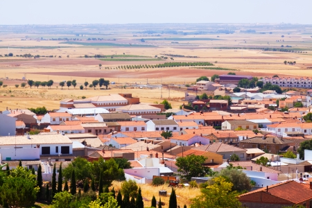 belmonte: Top view of Belmonte. Cuenca Stock Photo