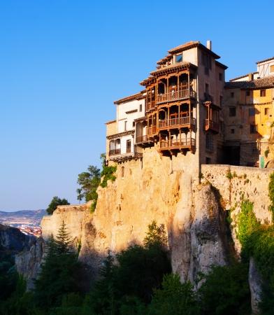 cuenca: Hanging Houses on rocks in Cuenca. Spain Stock Photo