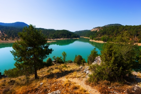 cuenca: landscape with mountains lake. Cuenca, Spain Stock Photo