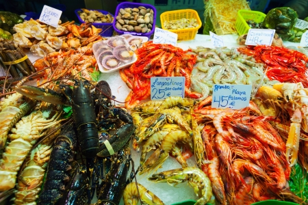 Heap of fresh uncooked seafood on market counter photo