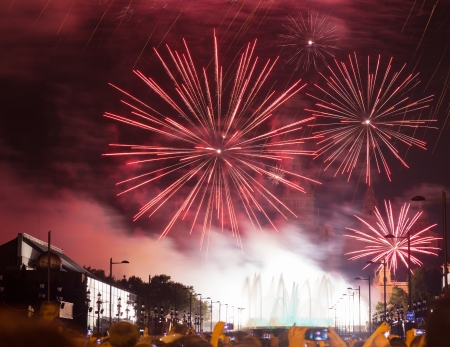 BARCELONA, SPAIN - SEPTEMBER 24: Fireworks show  on September 24, 2013 in Barcelona, Spain. Light and music show at closing ceremonies of La Merce Festival