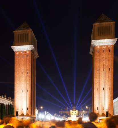 Venetian towers at Plaza de Espana in night. Barcelona, Spain