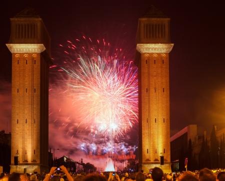 merce: Fireworks show of La Merce Festival in night. Barcelona, Catalonia