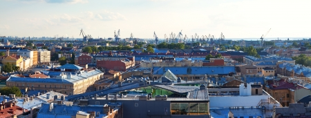 residential settlement: Top view of Saint Petersburg from Saint Isaacs Cathedral in summer day. Russia