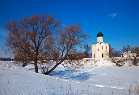 Church of the Intercession on the River Nerl (build in 1158) in winter. Russia photo
