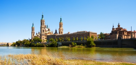Summer view of of Basilica in Zaragoza. Aragon photo