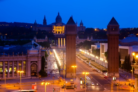 Spain square at Barcelona in evening. Catalonia, Spain