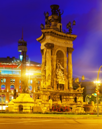 Fontain on Spain square at Barcelona in night time. Catalonia, Spain photo