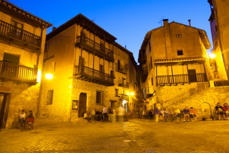 Town square at old spanish town in night.  Albarracin, Spai photo