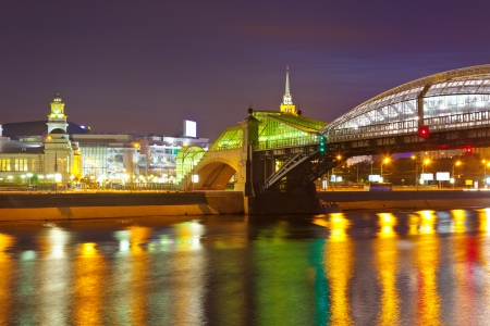 moskva river: View of Moscow. Pedestrian Bogdan Khmelnitsky Bridge  was built in 1907 and reconstruction in  2001