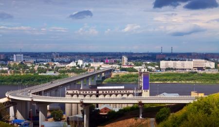 oka: View of Nizhny Novgorod.  Metro Bridge through Oka River. Russia