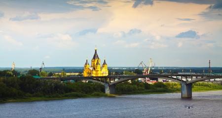 oka: View of Nizhny Novgorod with Kanavinsky Bridge through Oka River. Russia