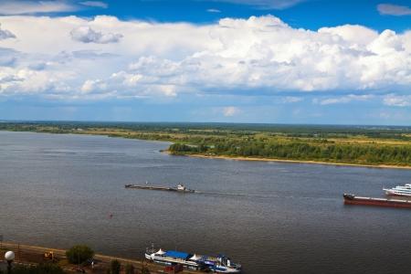 the volga river: View from the steep banks of the Volga river in Nizhny Novgorod Stock Photo
