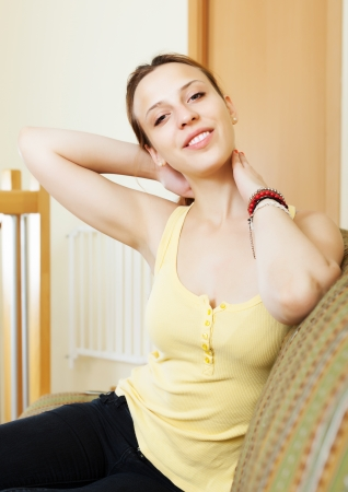 contusion: Sick woman complains of pain in the neck at home