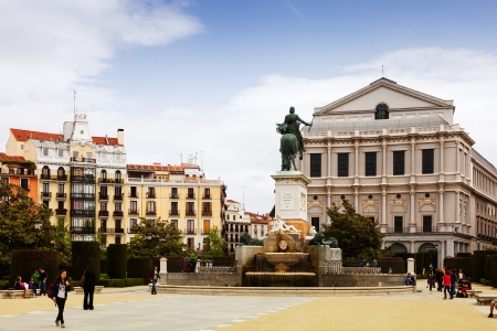 MADRID, SPAIN - APRIL 25: Plaza de Oriente in April 25, 2013 in Madrid, Spain. Square includes an equestrian statue of Felipe IV, established in 17 november 1843