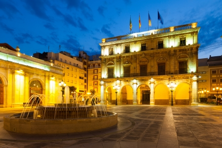 valencian: City Hall at  Castellon de la Plana in night. Valencian Community, Spain Editorial
